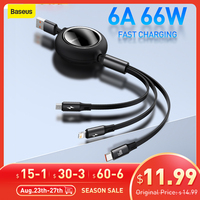 Baseus 3 in1 USB C Kabel Für iPhone 11 12 66W Schnelle Ladegerät handy kabel Versenkbare Daten Kabel für Huawei Micro USB Kabel