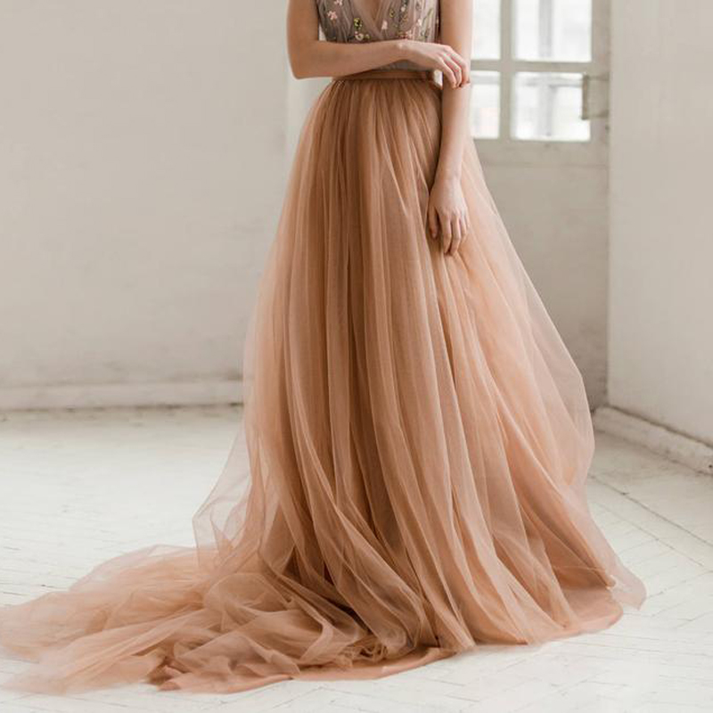 Champagne Tulle Wedding Skirt Court Train Floor Length Long Prom Skirts Women 5 Layers Soft Tulle Tutu Special Occasion Skirt
