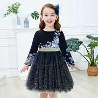 Vikita crianças vestido para meninas de manga longa crianças festa realizar lantejoulas vestido princesa unicórnio vestidos meninas vestidos flor