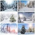 Laeacco зимние снежные горы сосна лес путь естественный вид фоновая фотография с изображением фон, фото-Декорации для фотостудии