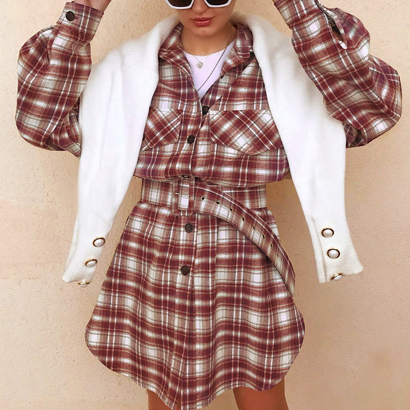 Simplee Straight shirt collar dress women long sleeve casual high waist belt plaid dress Streetwear 2020 button pocket dress|Dresses| - AliExpress