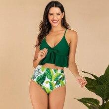 Bademode Frauen Bikini Vintage Bikinis 2019 Mujer Hohe Taille Badeanzug Set Sexy Strand Tragen Grün Zwei Stück Push Up Femme rüsche