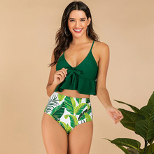 Swimwear Women Bikini Vintage Bikinis 2019 Mujer High Waist Swimsuit Set Sexy Beach Wear Green Two Piece Push Up Femme Ruffle