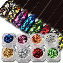 Nieregularne aluminiowe Glitter płatki cekinami pyłkiem magiczne lustro błyskotka złota folia Manicure proszek do paznokci dekoracji LACB01 08