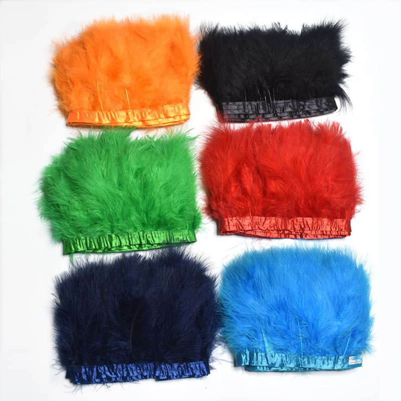 2Yard lot Natural Fluffy Marabou Feathers Trims Crafts 4 6inch Dyed Feathers Ribbon for Sewing Clothing Wedding Party Decoration in Feather from Home Garden