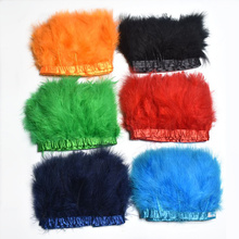 2Yard/lot Natural Fluffy Marabou Feathers Trims Crafts 4-6inch Dyed Ribbon for Sewing Clothing Wedding Party Decoration