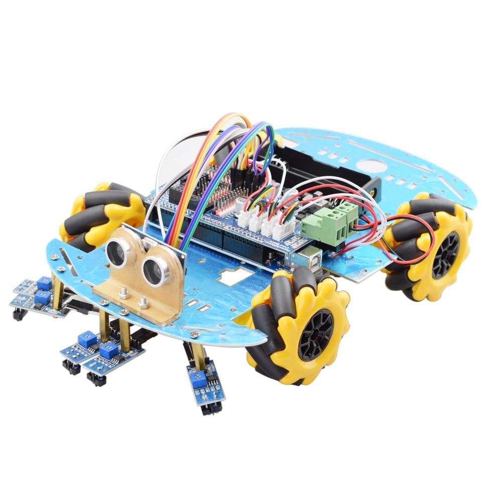 Line Tracking Obstacle Avoidance Smart Arduino Mecanum Wheel Robot Car Kit With Mega2560 Ultrasonic Sensor Tracking Module DIY