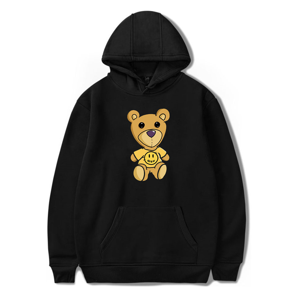 2020 NEW Justin Bieber Drew House Teddy Bear Printed Hoodies Sweatshirts For Men And Women Polyester Pullover Unisex  Tracksuit