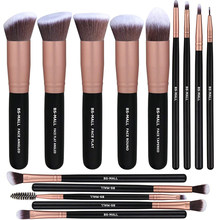 14 pçs pincéis de maquiagem conjunto kabuki sintético escova de maquiagem cosméticos fundação blush eyeliner rosto pó cremes líquidos