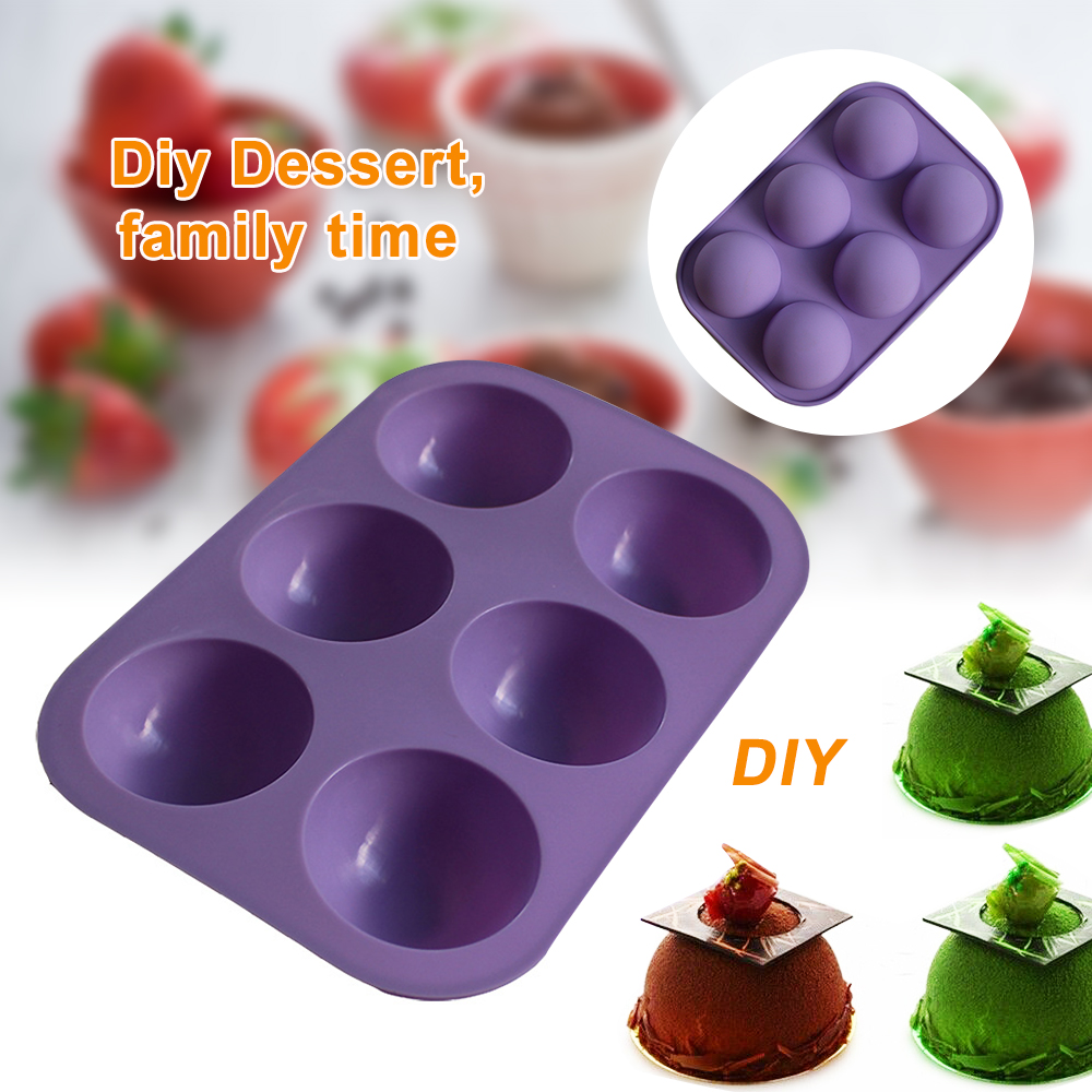 6 Half Ball Baking Silicone Muffin Loaf Pan Cup Cake Non-Sticky Tray Mould  New
