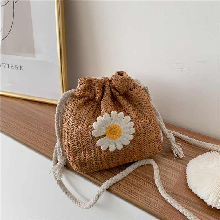 Vento Marea Small Bucket Straw Bag Crossbody For Women 2020 New Floral Summer Bag Knitting Bohemian Purse And Handbags For Girls