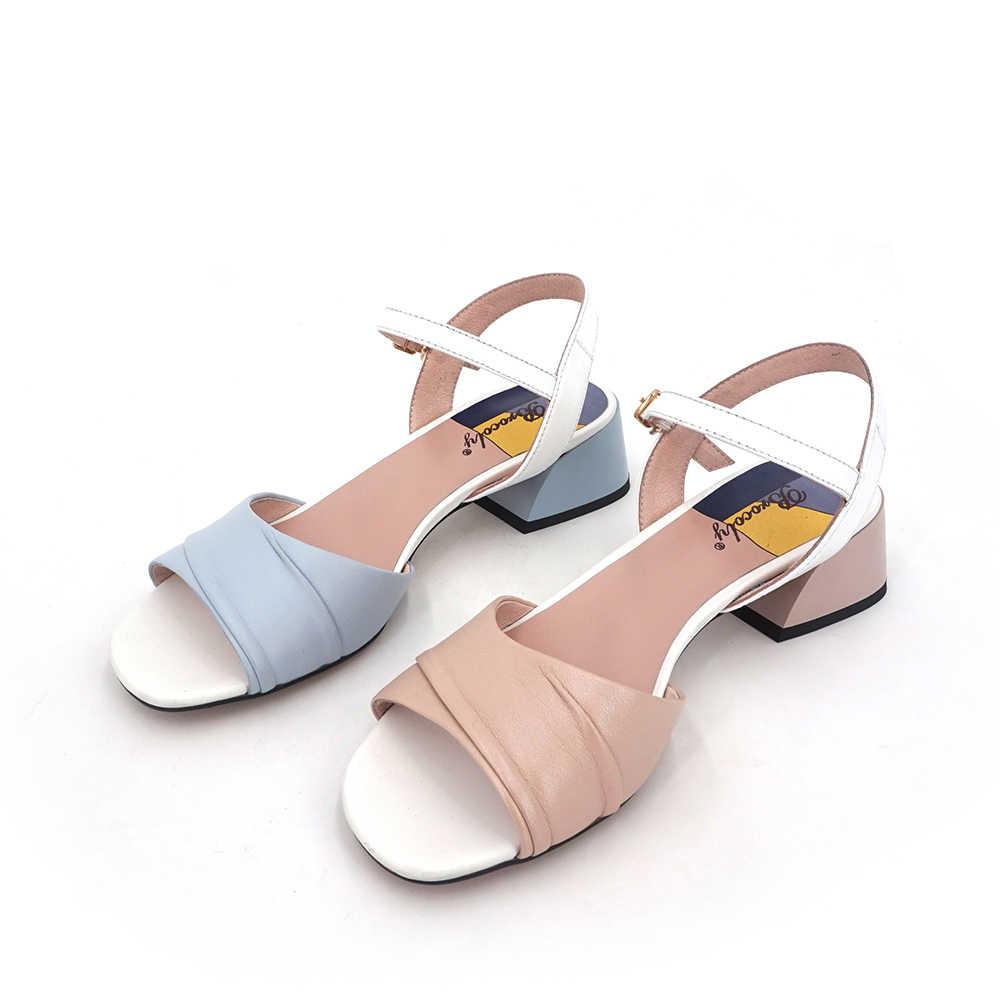 VAIR MUDO yeni marka kadın sandalet ayakkabı bayanlar kalın topuk hakiki deri ayak bileği Wrap kare topuk ayakkabı kadın moda mavi LX11