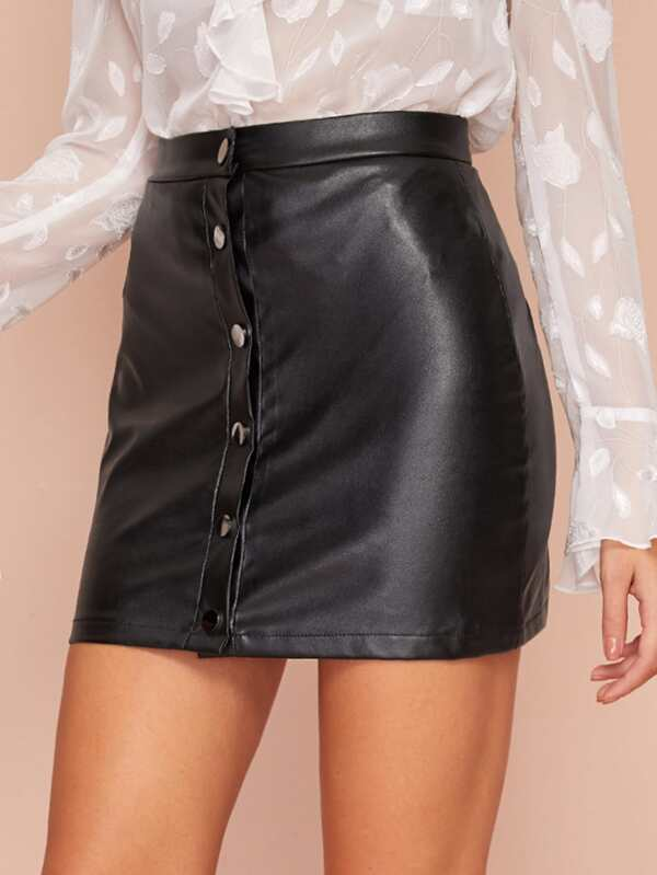 NEW Women Front Fitted Mini PU Skirts Black Single-breasted Short Wrap High Waist Summer Casual Fashion Solid
