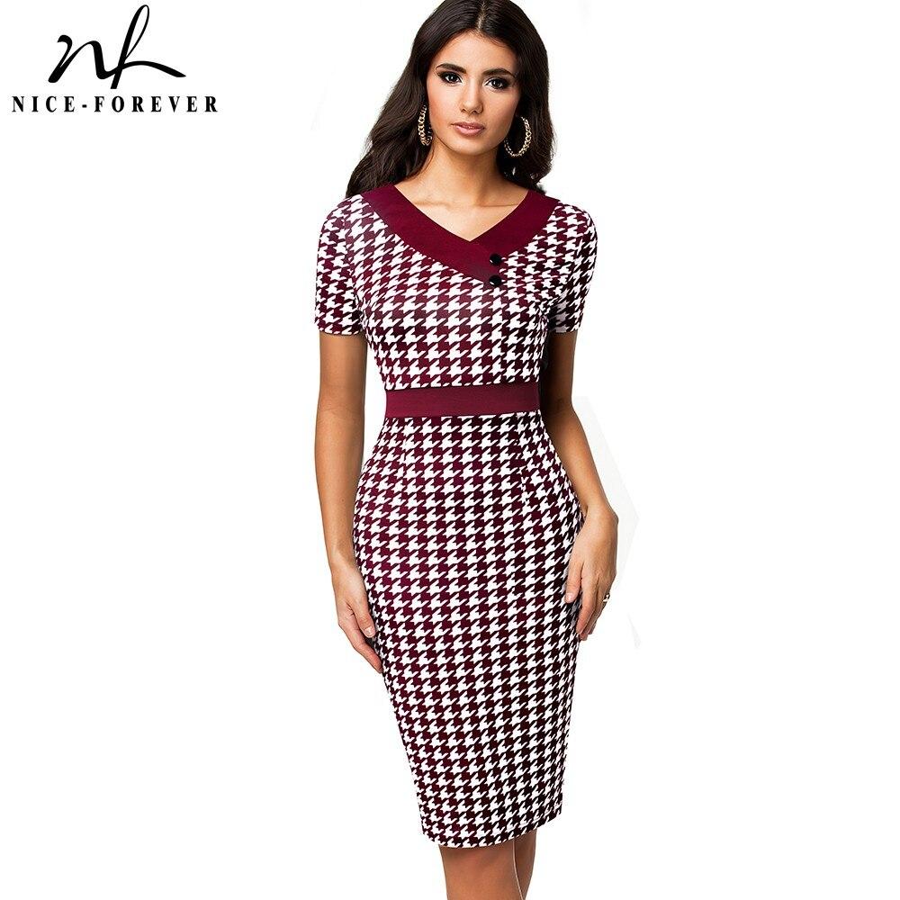Nice Forever Summer Women Elegant Contrast Color Patchwork Dresses Business