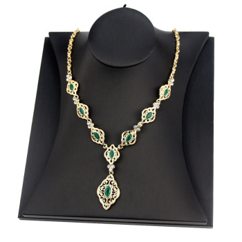 Sunspicems Exquisite Morocco Algeria Wedding Jewelry Indian Crystal Women Pendant Necklace Gold Color Arab Robe Caftan Bijoux 1