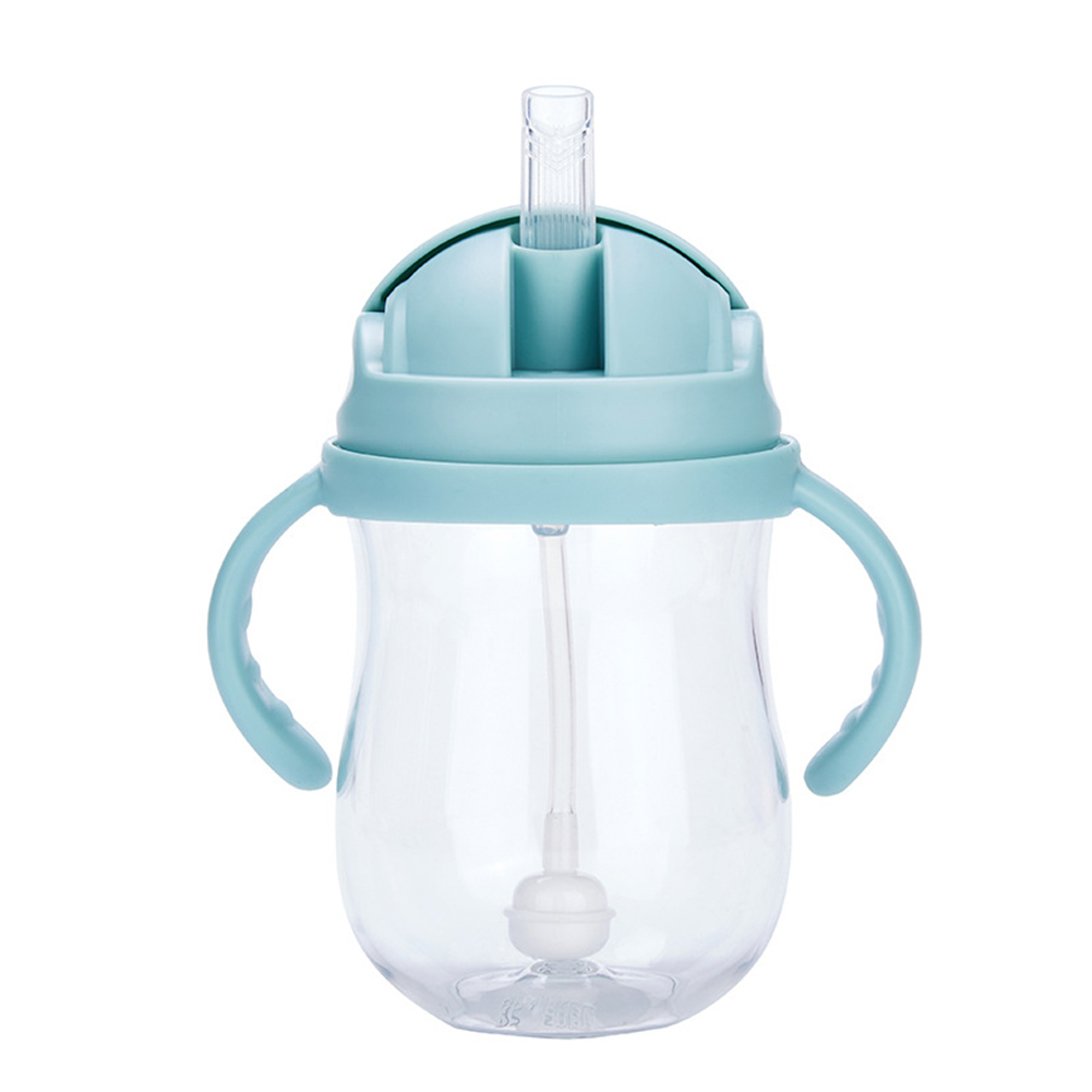 300 Ml Silicone Training Leakproof Cups Milk Babies Water Feeding Bottle Straw Suction With Handles Drinking Wide Mouth