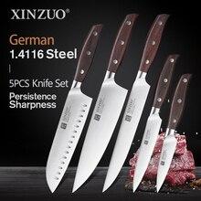 XINZUO wysokiej jakości narzędzia do krojenia Cleaver Chef nóż Santoku noże kuchenne ze stali nierdzewnej zestawy z czerwone drzewo sandałowe uchwyt