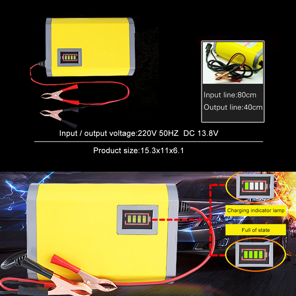 12V 6A 2A Full Automatic Intelligent Smart Power Charger Car Motorcycle Battery Charger 3 Stages Lead Acid AGM GEL LED Display image