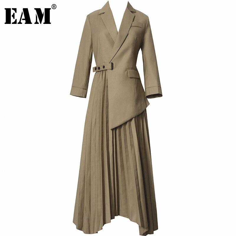 [EAM] Women Khaki Asymmetrical Hem Pleated Suit Dress New Lapel Long Sleeve Loose Fit Fashion Tide Spring Autumn 2020 1S468