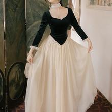Новая мода Женская одежда квадратный воротник лоскутное винтажное платье зимнее платье