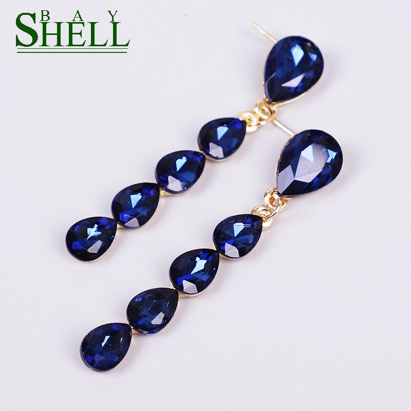 Модные женские серьги Shell Bay в виде синей искусственной кожи, красные и белые серьги для невесты, свадебный подарок, ювелирные изделия