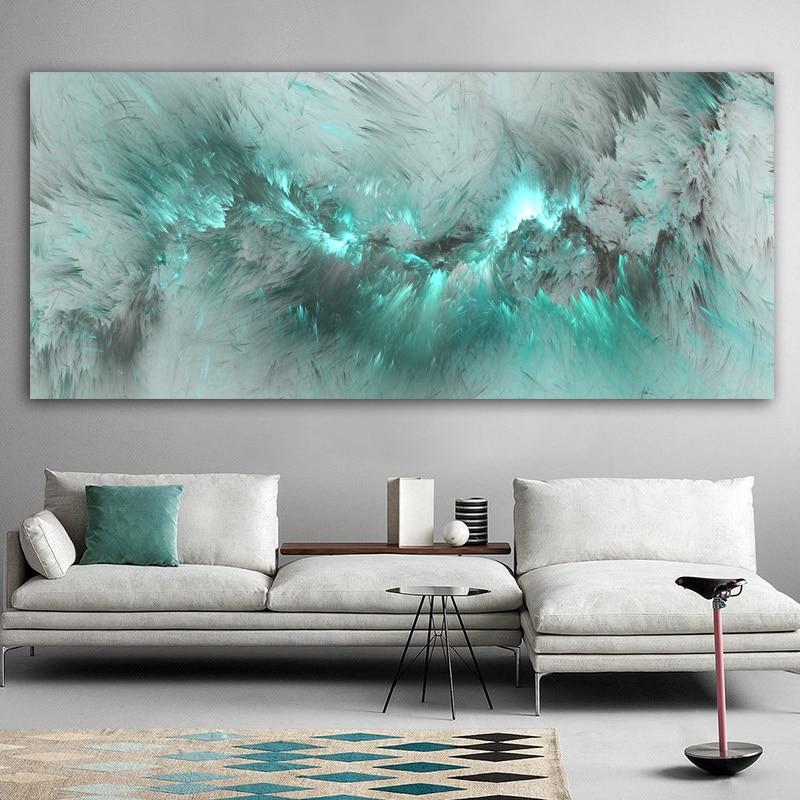 DDHH светло Голубое облако абстрактная картина маслом думаю независимая Настенная картина для гостиной Холст Современное искусство плакат и печать|Рисование и каллиграфия|   | АлиЭкспресс
