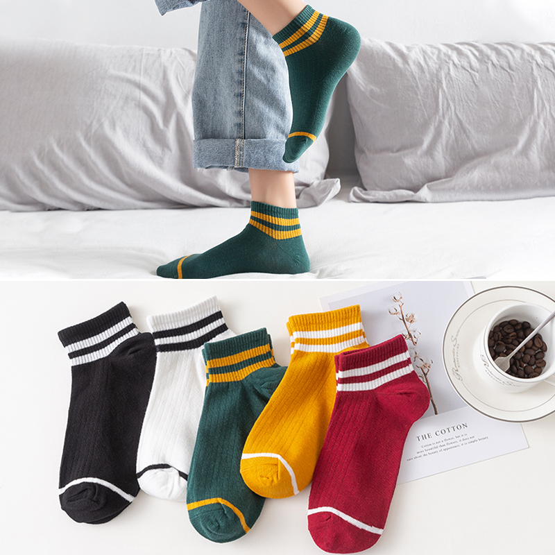 Classic Women Stripes Cotton Ankle Socks Spring Summer Breathable School Hiphop Skate Short Harajuku Female Calcetines Sock