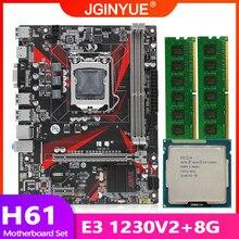 H61 placa-mãe lga 1155 conjunto kit com processador cpu intel xeon e3 1230 v2 e 8gb (2*4gb) ddr3 desktop memória ram usb2.0 H61M-H