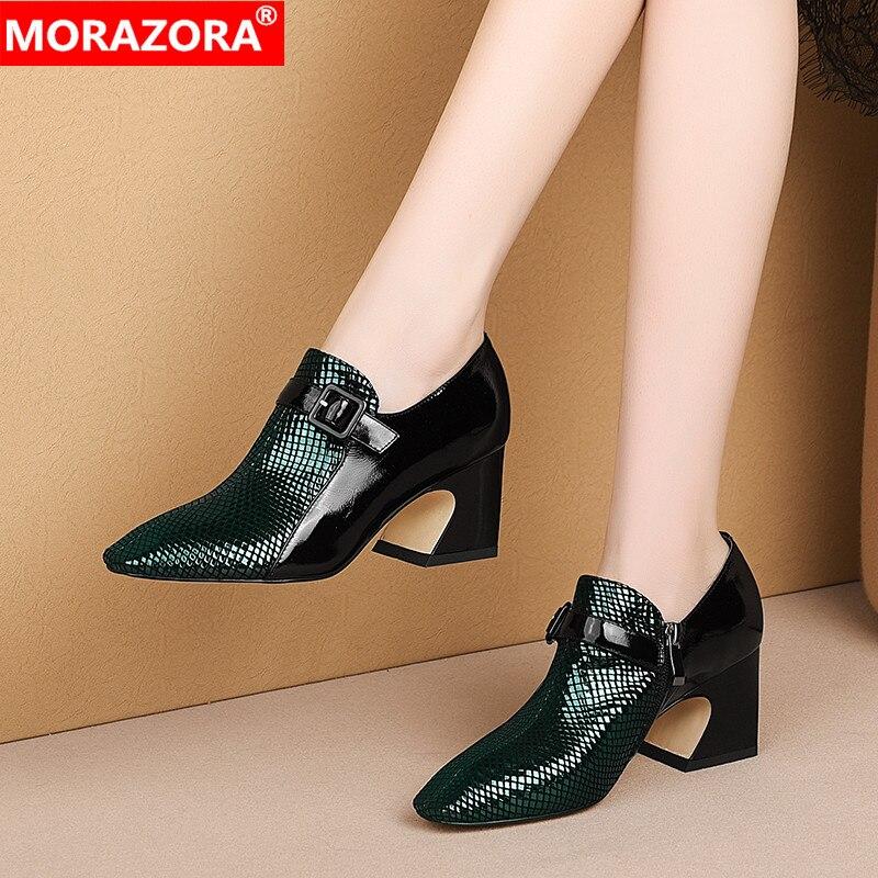 MORAZORA New Brand high heels shoes woman genuine leather women pumps buckle fashion square toe dress shoes big size 33-43