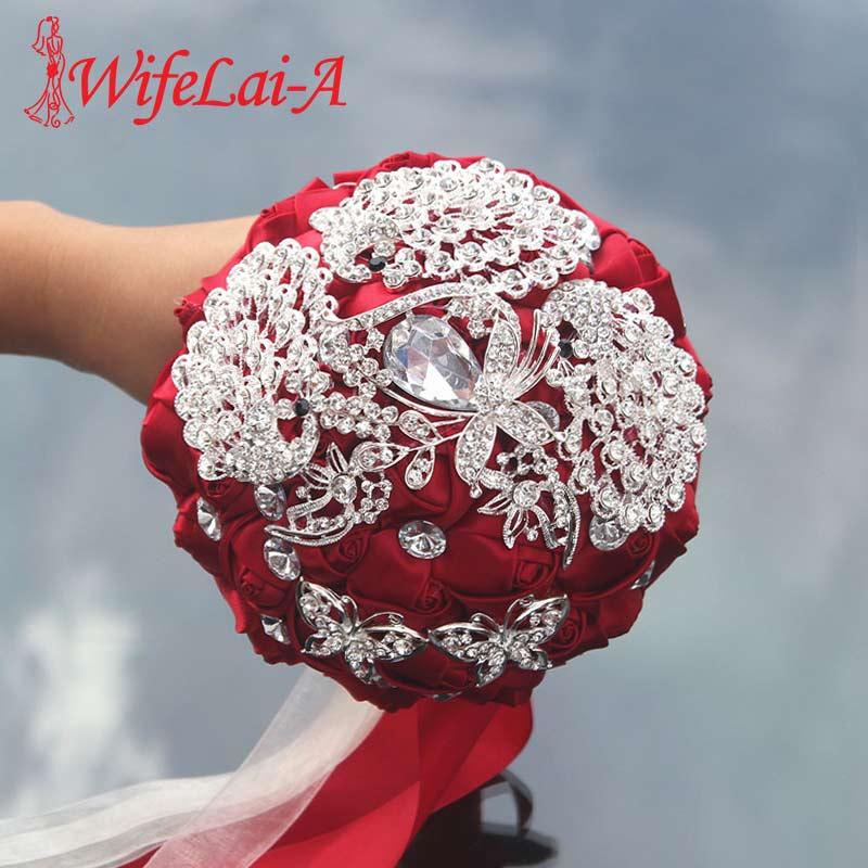 8 Styles 15cm High Quality Diamond Brooch Wedding Bouquet Ribbon Wedding Flowers Bridal Bridesmaid Bouquets Crystal Buque Noiva