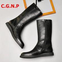 Длинные ботинки cgnp в британском стиле черные мужские из натуральной