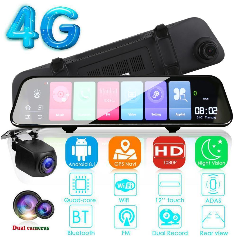 12 pouces Android 8.1 Adas Dash Cam voiture Dvr caméra Gps Navi Bluetooth Fhd enregistreur vidéo 4G Wifi Dvr miroir