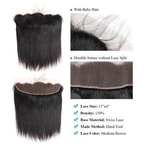Image 4 - Fasci di capelli lisci brasiliani Allove con fasci di capelli umani frontali al 100% con chiusura capelli Non Remy 3 fasci con chiusura