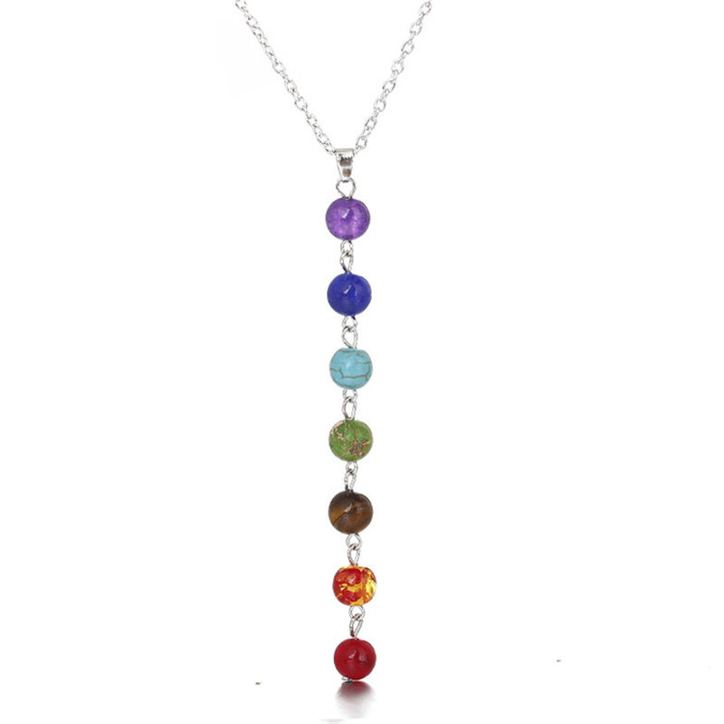 7 Chakra Crystal Symbol Pendant Buddhist Jewelry Woman Men Necklace
