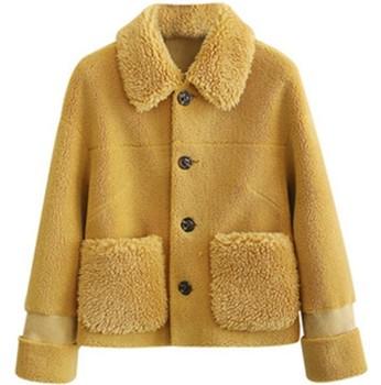 Cashmere coat womens autumn and winter new Korean loose short plush  jacket fashion