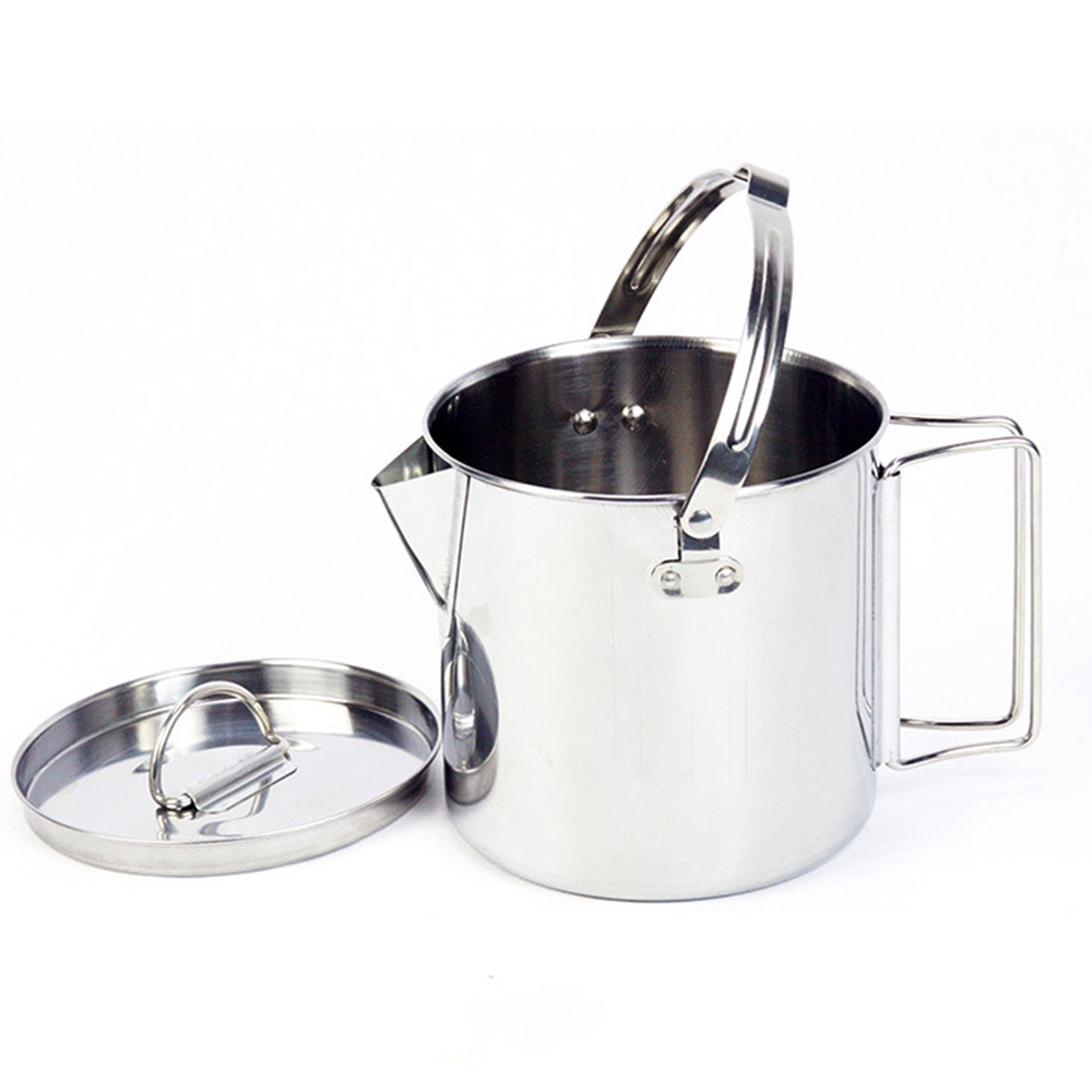 1.2 L  Außen Camping Outdoor Kettle Safety Stainless Steel High Capacity Pot Bottle Cooking Accessories