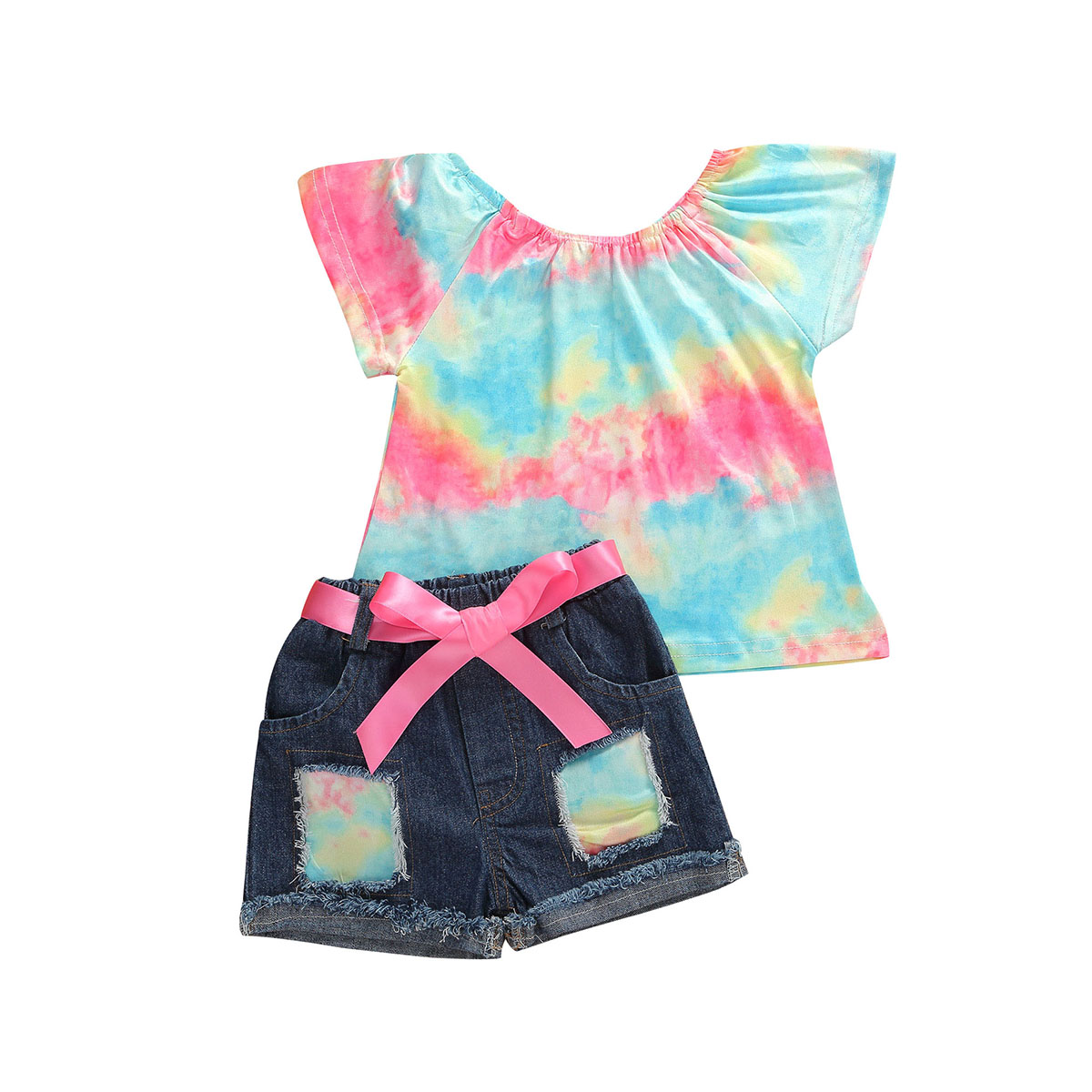 1-6Y Summer Baby Girls Clothing Sets Rainbow Print Ruffles Sleeve T Shirts Tops + Denim Blue Shorts 2pcs