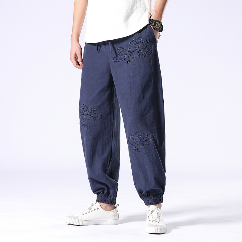 #<font><b>0682</b></font> Summer Cotton Linen Pants Men Embroidery Thin Streetwear Joggers Mens Elastic Waist Harem Pants Loose Red Blue Black Grey image