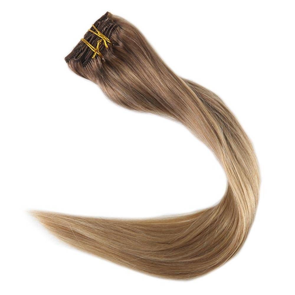 Full Shine Clip In Hair Extensions Highlighted Color 10 Fading To 16 16 100g 9Pcs Full Head Remy Hair Double Weft Clip In