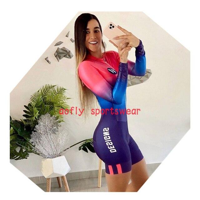 Kafitt roupas de manga longa das mulheres ciclismo triathlon terno ciclismo conjunto skinsuit maillot ropa ciclismo mtb bicicleta macacão verão macaquinho ciclismo feminino manga longa roupas com frete gratis macacao 1