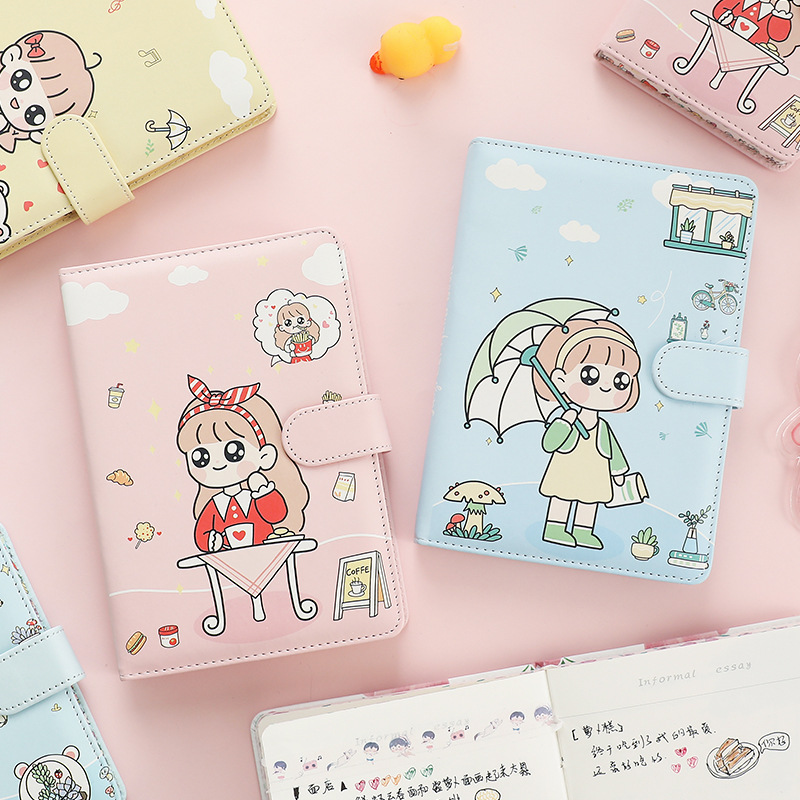 Portable Small Cute Notebook Kawaii Note Books For Mini School Stationery Supply Handbook DIY Painting Recording Magnetic Buckle