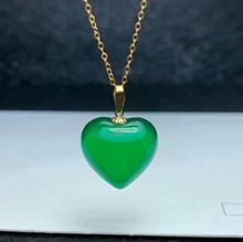 SHILOVEM 18k yellow gold natural green chalcedony pendants  none necklace new wholesale Fine women gift 16*16mm mymz1616883ys