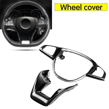For Mercedes - Benz W205 C63 W176 A45 W213 E63 W117 C117 CLA45 CLS63 GLA45 AMG Carbon Fiber Steering Wheel Trim cover 2015+
