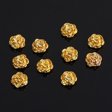 Golden Rose Shape 10 pieces Silver 3D Alloy Nail Art Slices Glitters DIY Decorations