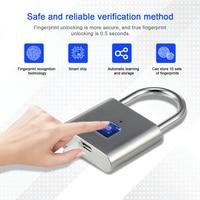 Golden Security Keyless USB Rechargeable Door Lock Fingerprint Smart Padlock Quick Unlock Zinc alloy Metal Self Developing Chip|מנעול חשמלי|   -