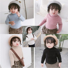 Girl'S Sweater Mink Cashmere High Collar Sweater Warm Coat 19 Winter New Style Childrenswear 3-8-Year-Old(China)