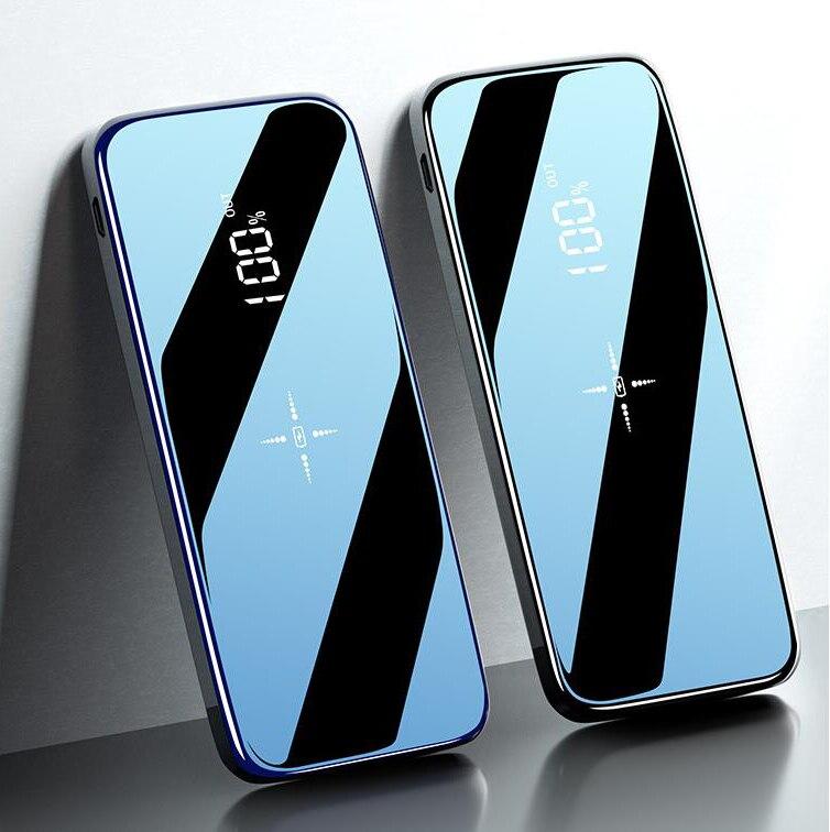 Carga rápida sem fio power bank dupla usb espelho tela 30000 mah carregador sem fio powerbank bateria externa para iphone8 x