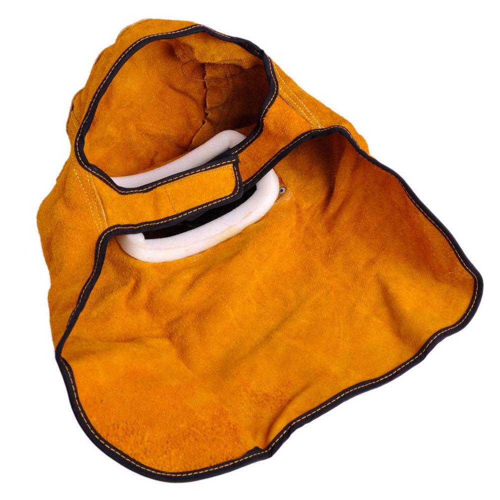 -15°-65° Welding Leather Hood Yellow Cowhide Welder Mask Welding Helmet Protect Sparkproof Solder Slag Mars Convenient