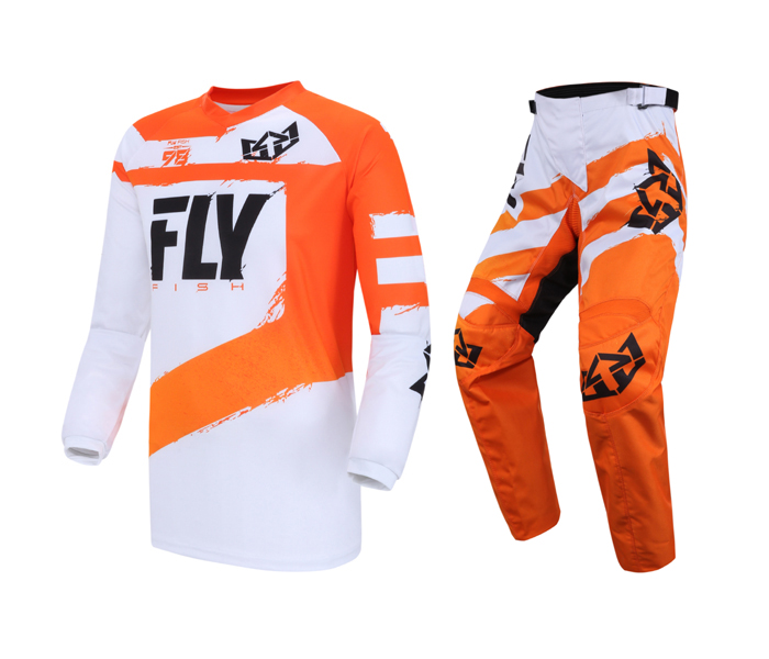 2019 Fly Fish MX Jersey Pant Combo Motorcycle ATV BMX MTB DH Dirt Bike Motorbike Enduro Racing Riding Men's Blue Gear Set