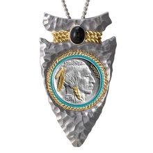 Vintage Silver Geometric Pendant Gold-plated Indian Chief Black Gemstone Necklace Unisex Personality Punk Jewelry Fashion Access
